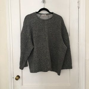 Helmut Lang oversized gray crew sweater pullover